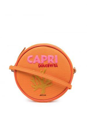 Bawełna pomarańczowy z paskiem spodnie capri Olympia Le-tan