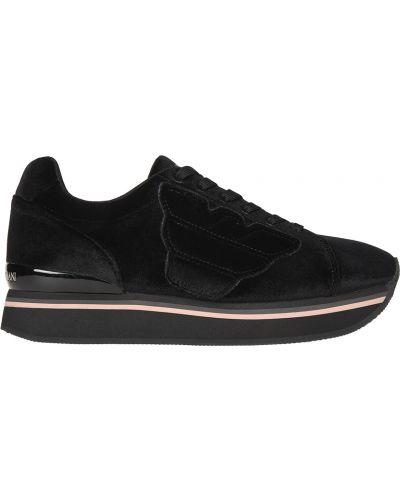 Кроссовки черные велюровые Emporio Armani