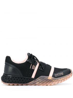 Czarne sneakersy sznurowane koronkowe Philipp Plein