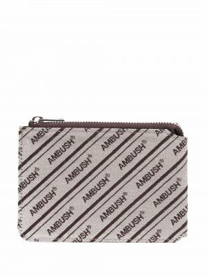 Brązowy portfel z haftem Ambush