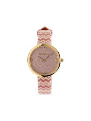 Różowy złoty zegarek na skórzanym pasku kwarc Missoni