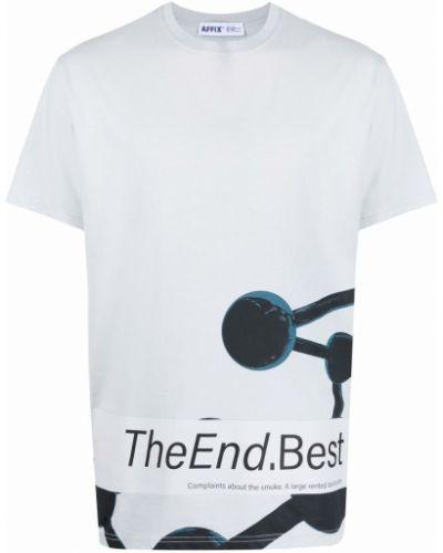 Niebieski t-shirt bawełniany krótki rękaw Affix
