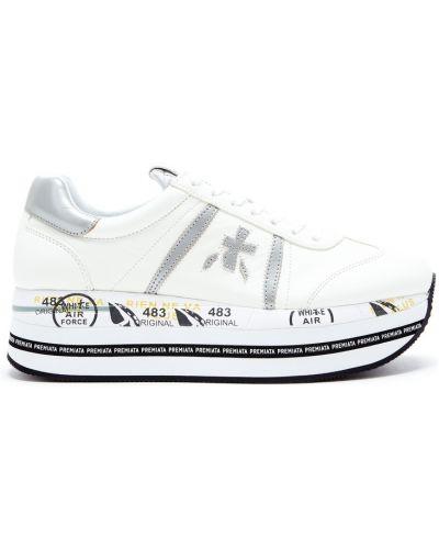 Кожаные кроссовки черные белый Premiata