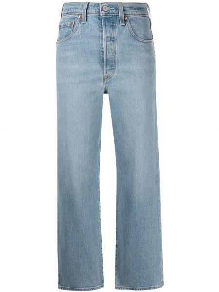 Прямые синие укороченные джинсы с нашивками Levi's®