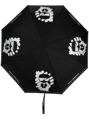 Szary parasol z printem srebrny Karl Lagerfeld