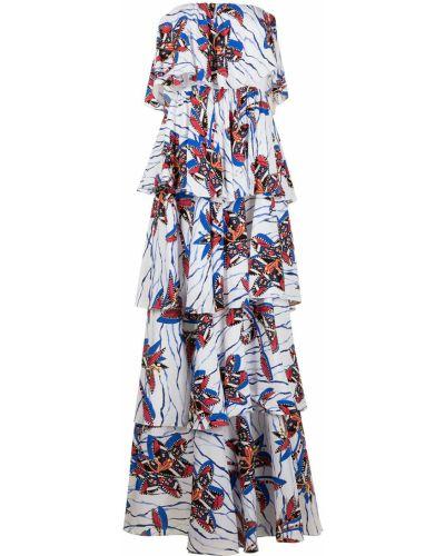 Белое платье макси с принтом из вискозы Stella Jean