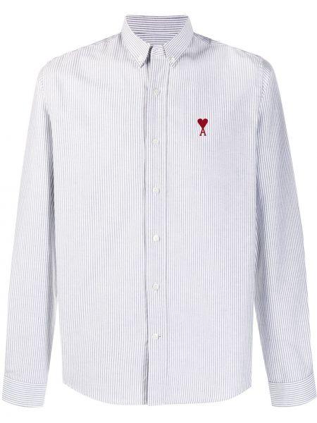 Koszula bawełniana w paski z długimi rękawami Ami