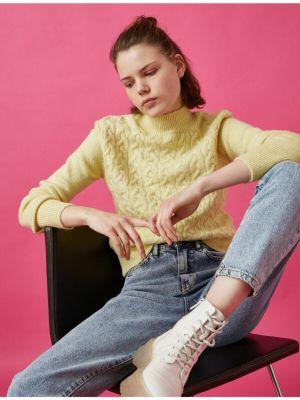 Żółty długi sweter z akrylu z długimi rękawami Koton