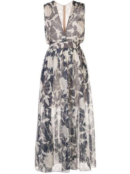 Шелковое платье прозрачное с декольте без рукавов Oscar De La Renta
