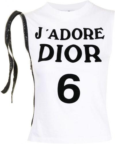 Biała T-shirt z nadrukiem bawełniana Christian Dior