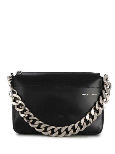 Черная кожаная сумка на цепочке Kara