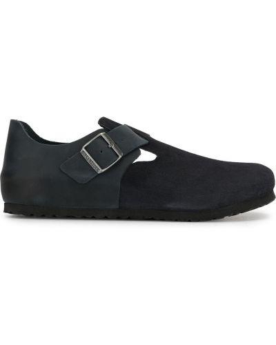 Кожаные синие туфли на плоской подошве Birkenstock