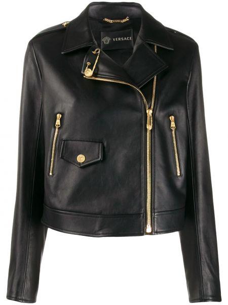 Черная кожаная короткая куртка байкерская Versace
