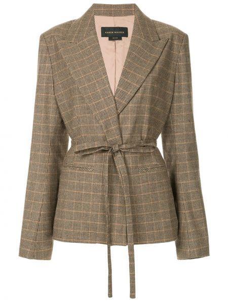 Шерстяной коричневый пиджак с лацканами Karen Walker