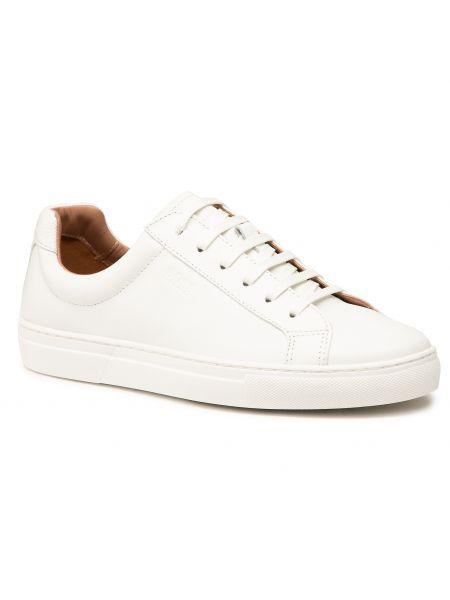 Buty sportowe skorzane - białe Boss