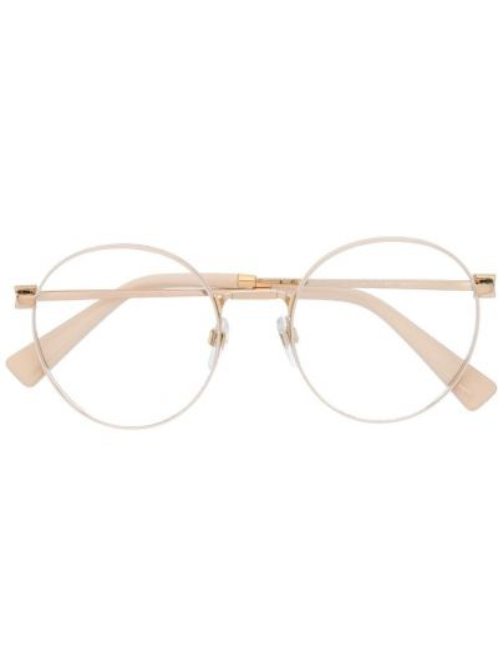 Желтые очки круглые металлические прозрачные Valentino Eyewear