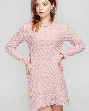 Клубное розовое вязаное платье Nataclub