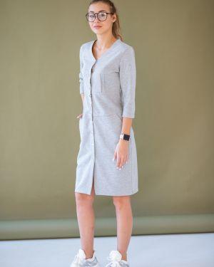 Приталенное платье на кнопках с карманами с кокеткой Lovitton