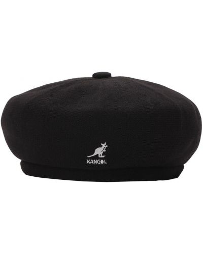Czarny beret z haftem Kangol