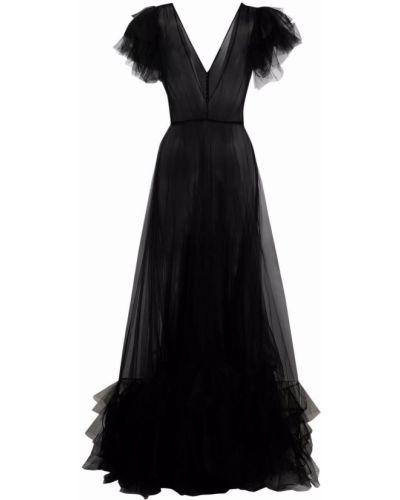 Czarna sukienka mini tiulowa krótki rękaw Jenny Packham