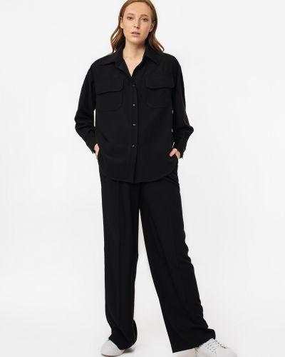 Черные брюки с защипами свободного кроя Magnetic