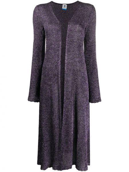 Прямое фиолетовое пальто с вырезом M Missoni