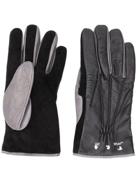 Czarne rękawiczki skorzane Off-white