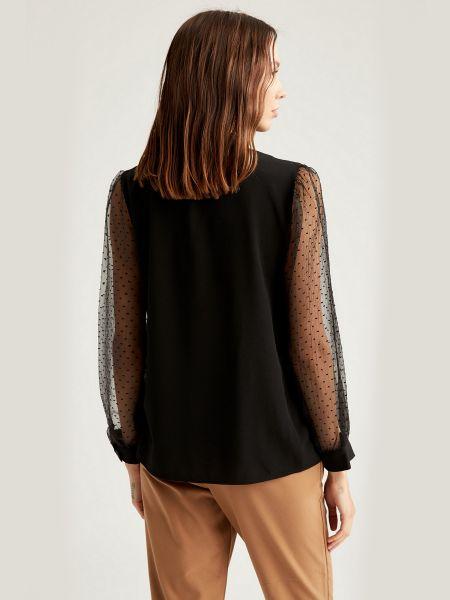 Черная нарядная шифоновая блузка Defacto