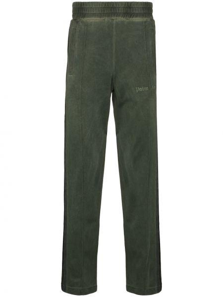 Zielony sportowe spodnie z haftem Palm Angels