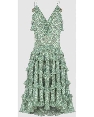 Шелковое зеленое платье миди Ermanno Scervino