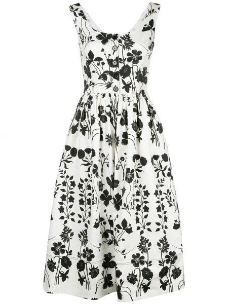 Вечернее платье на пуговицах с цветочным принтом Oscar De La Renta