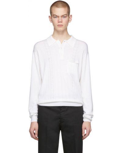 Белое поло с длинными рукавами с карманами с воротником Second/layer