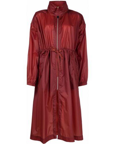 С кулиской красное длинное пальто с карманами Parajumpers