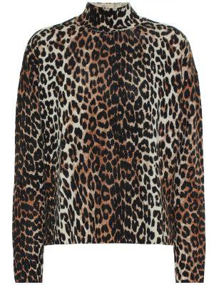 Шерстяной коричневый свитер Ganni