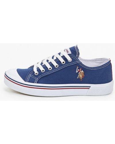 Синие хлопковые низкие кеды U.s. Polo Assn.