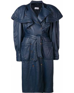 Синее кожаное пальто с капюшоном Rocco Barocco Vintage