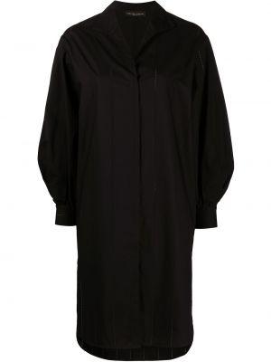 Хлопковое черное платье-рубашка с V-образным вырезом Fabiana Filippi