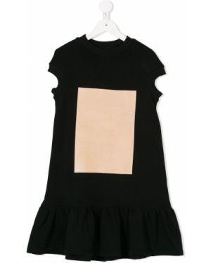 Прямое черное платье с рукавами Ioana Ciolacu Kids