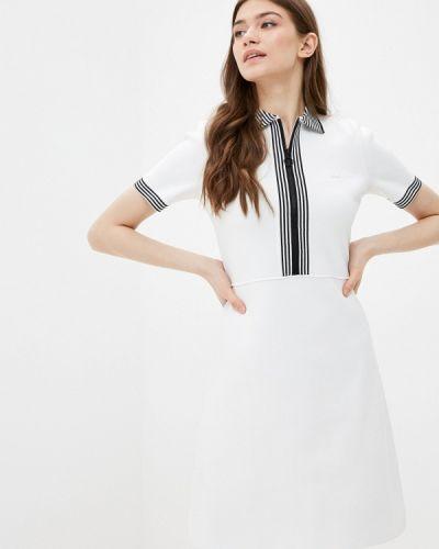 Вязаное трикотажное белое платье Lacoste