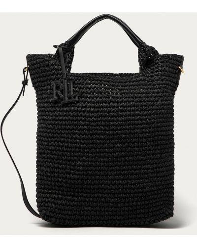Czarna torba z krótkimi uchwytami Lauren Ralph Lauren