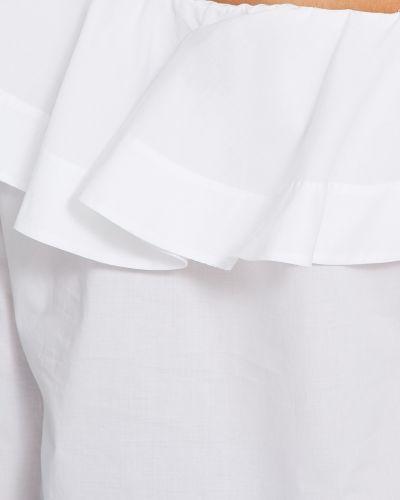 Хлопковая с рукавами белая блузка Van Laack