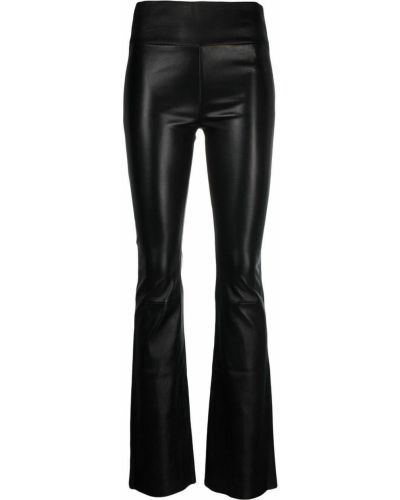 С завышенной талией кожаные черные брюки Sylvie Schimmel