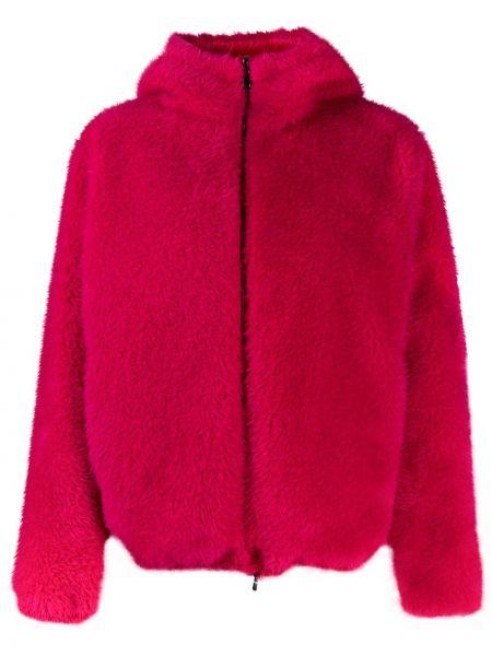 Розовый пуховик с капюшоном с перьями Moncler