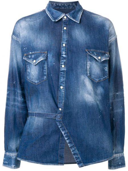 Джинсовая рубашка в клетку с карманами Dsquared2