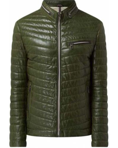 Zielona kurtka skórzana Milestone