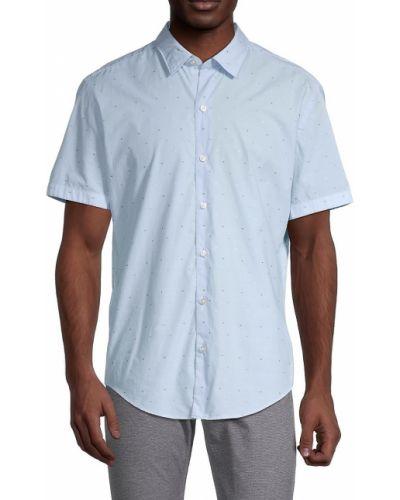 Синяя рубашка с короткими рукавами с воротником Boss Hugo Boss