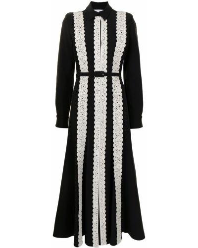 Czarna sukienka długa rozkloszowana z długimi rękawami Gabriela Hearst