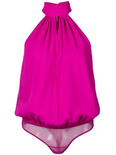 Шелковое розовое боди с вырезом Fleur Du Mal