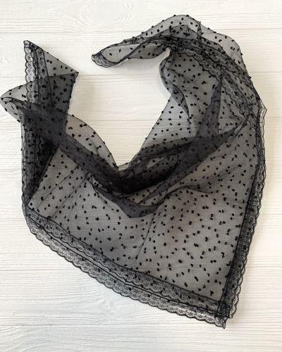 Черный ажурный шарф в горошек Rozetka