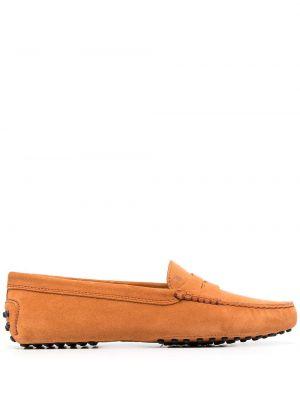 Оранжевые кожаные мокасины без застежки Tod's